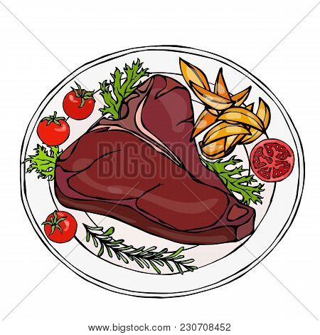 Grilled Or Fried Porterhouse Steak On A Plate With Potato Wedges, Tomatoes And Herbs. Steak Dinner.