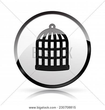 Illustration Of Cage Icon On White Background