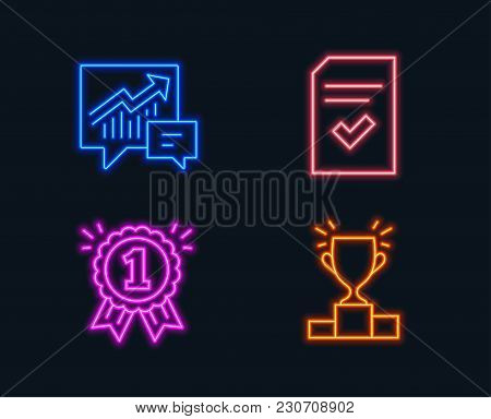 Neon Lights. Set Of Accounting, Checked File And Reward Icons. Winner Podium Sign. Supply And Demand