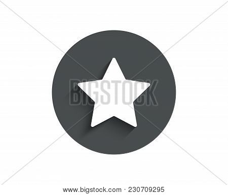Star Simple Icon. Best Rank Sign. Bookmark Or Favorite Symbol. Circle Flat Button With Shadow. Vecto