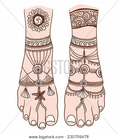 Woman Foot With Magic Mehendi And Boho Jewelry. Vector Illustration Isolated. Tattoo Design, Mystic
