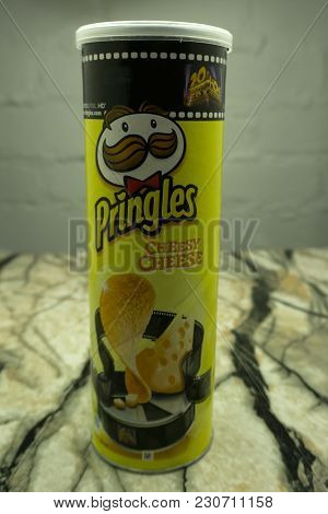 Russia December 25, 2017 . Owned By Kellogg's, Pringles Is Brand Of Potato Chips Sold In 140 Countri