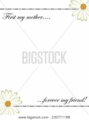 Mothers Day Card - Happy Mothers Day - First My Mother Forever My Friend