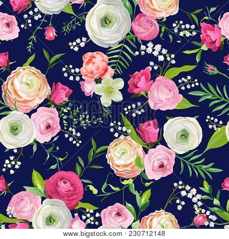Summer Floral Seamless Pattern With Pink Flowers And Lily. Botanical Background For Fabric Textile,
