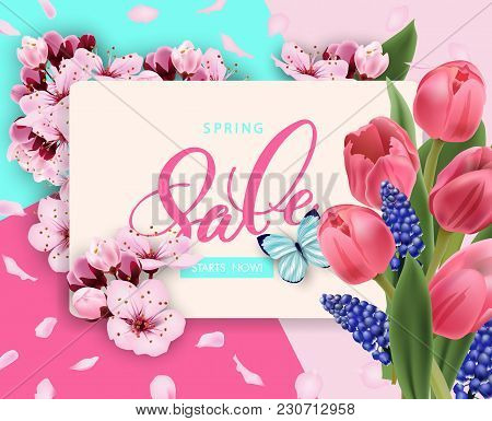Spring Sale Vector Banner Design With Flowers Cherry And Frame. Spring Sale With Cherry Blossoms Bac