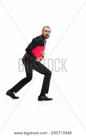 Full Body Or Full-length Portrait Of Businessman Stealing With Red Folder On White Studio Background