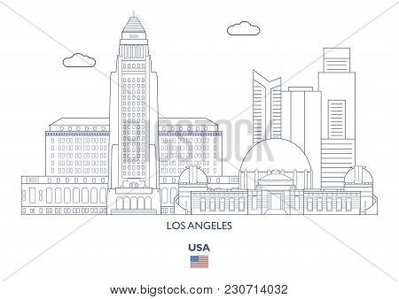 Los Angeles Linear City Skyline, Usa. Famous Places