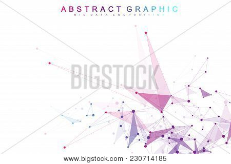 Geometric Abstract Vector With Connected Line And Dots. Global Network Connection Background. Techno