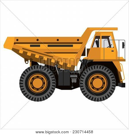 Powerful Mining Truck. Isolated On A White Background. Mechanical Engineering, Heavy Industry, Const