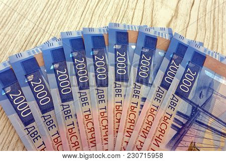 Background Of The New Banknotes Worth 2000 Rubles