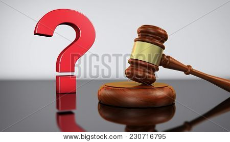 Law And Legal Questions Concept With A Red Question Mark Sign And A Wooden Judge Gavel On A Desk Wit