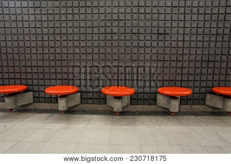 Empty Seats On The Metro Station In Italy