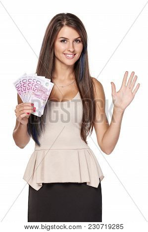 Woman With Euro Money Paper Currency In Hand Showing Five Fingers, Over White Background