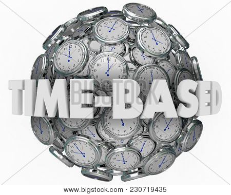 Time Based Clocks Sphere Timing Results 3d Illustration