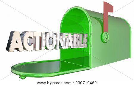 Actionable Mailbox Word Act Now Take Action 3d Illustration