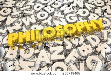 Philosophy Letters Thoughts Ideas Logic Reasoning 3d Illustration