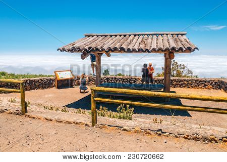 Tenerife, Spain, June 04, 2015: Unknown People Visit Viewpoint Above The Clouds In Teide National Pa