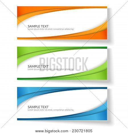 Card With Abstract Wavy Lines Orange Blue Green Stripes Creative Element For The Design Of Templates