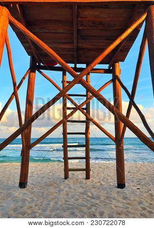 Wooden Watchtower On The Empty Beach At Sunset, Cancun, Yucatan, Mexico