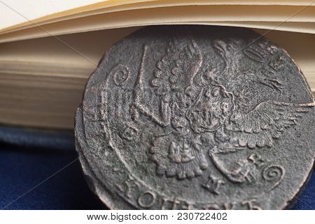 Copper Coins Of 1785 In Russia With The Arms Close-up
