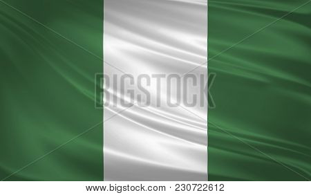 Nigeria Flag Blowing In The Wind. Background Texture. 3d Rendering, Waving Flag
