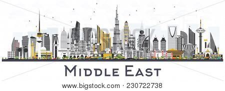 Middle East City Skyline with Color Buildings Isolated on White. Business Travel and Tourism Concept with Modern Architecture. Middle East Cityscape with Landmarks.