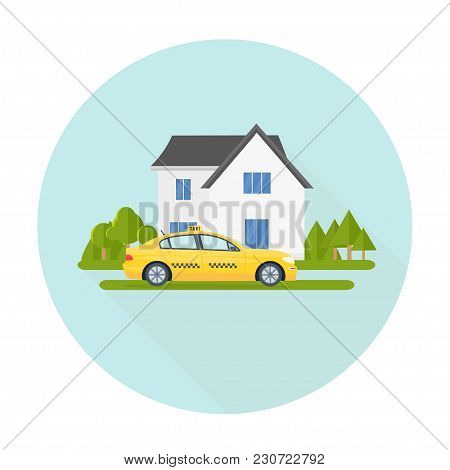 Machine Yellow Cab And Eco House. Public Taxi Service Concept. Home On The Background. Flat Vector I