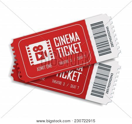 Two Cinema Vector Tickets Isolated On White Background. Realistic Front View Illustration. Close Up