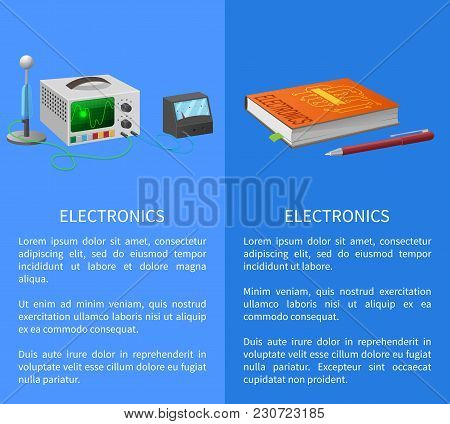 Electronics Banner With Place For Text On Blue With Textbook, Ballpoint Pen And Various Electricity