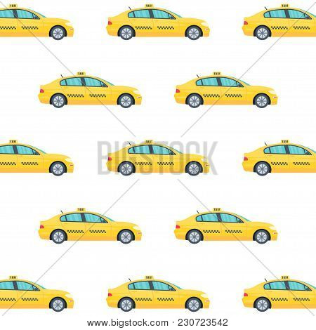 Seamless Pattern With Machine Yellow Cab On White Background. Public Taxi Service Concept.  Flat Vec