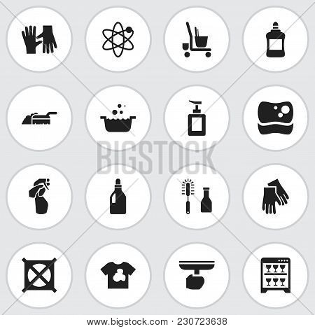 Set Of 16 Editable Cleaning Icons. Includes Symbols Such As No Washing, Glass Spray, Dirty T-shirt A