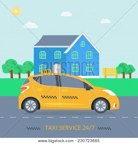 Poster With The Machine Yellow Cab In The City. Public Taxi Service Concept With House On The Backgr