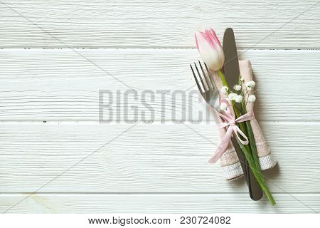 Easter Laying Table Appointments, Table Setting Options. Silverware, Tableware Items With Festive De