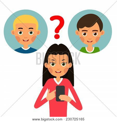Girl Calling Phone. Young Woman Chooses Whom To Call Or Send An Sms Message From Two Guys. Set Carto