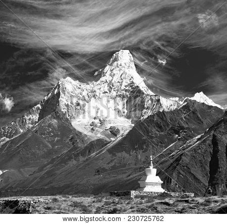 Mount Ama Dablam With Stupa Near Pangboche Village And Beautiful Cloudy Sky, Black And White View, W