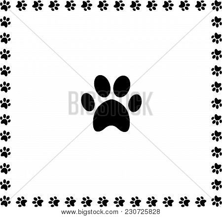 Black Animal Pawprint Icon Framed With Paw Prints Square Border Isolated On White Background. Vector