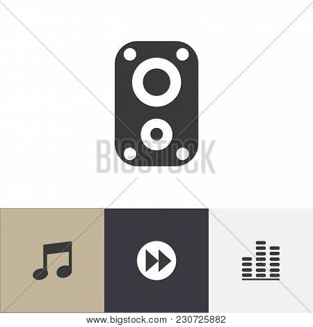 Set Of 4 Editable Sound Icons. Includes Symbols Such As Sound Amplifier, Music, Next And More. Can B
