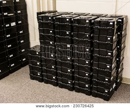 A Stack Of Shako Storage Boxes Ready For Assignment