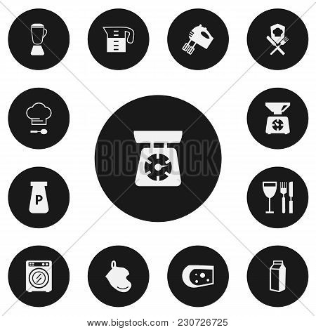 Set Of 13 Editable Cooking Icons. Includes Symbols Such As Lactose, Oven Glove, Cheese And More. Can
