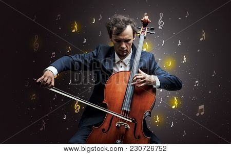 Young cellist with falling musical notes wallpaper and classical concept