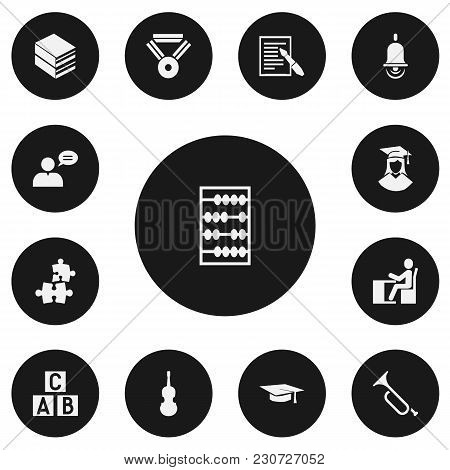 Set Of 13 Editable Teach Icons. Includes Symbols Such As A B C Block, Library, Study Accomplishment