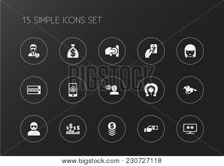 Set Of 15 Editable Business Icons. Includes Symbols Such As Greenback, Security, Man In Glasses And