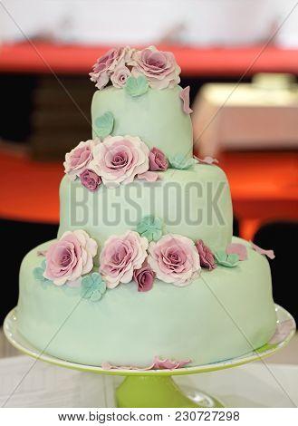 Three Tier Wedding Cake With Edible Flowers