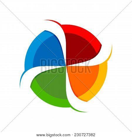 4 Slash Circular Spinner Blend Vector Symbol Graphic Logo Design