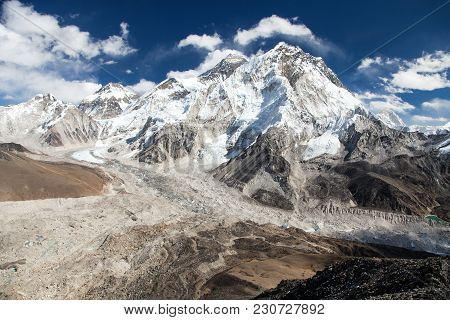 Panoramic View Of Everest And Nuptse With Beautiful Clouds On Sky, Khumbu Valley And Glacier, Sagarm