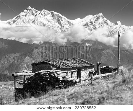 View From Jaljala Pass With Chalet On Pastureland And Mount Annapurna - Nepal, Black And White View