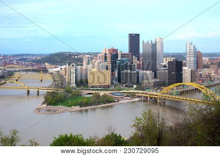 Pittsburgh, Pennsylvania, United States - April 26, 2011: Panoramic View Of Central Business Distric
