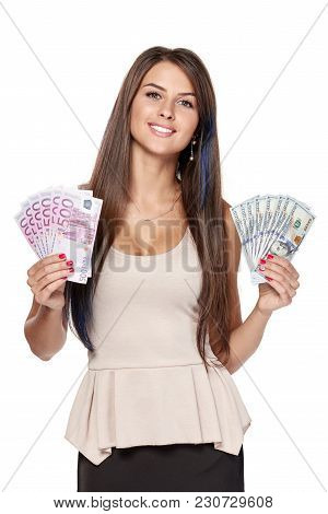 Bussiness Woman Holding Us Dollar Money In One Hand And Euro Cash Money In Another Hand, Over White