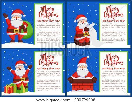 Merry Xmas Happy New Year Postcards Santa Claus Reading Wish List, Coming Out Chimney, Greets Presen