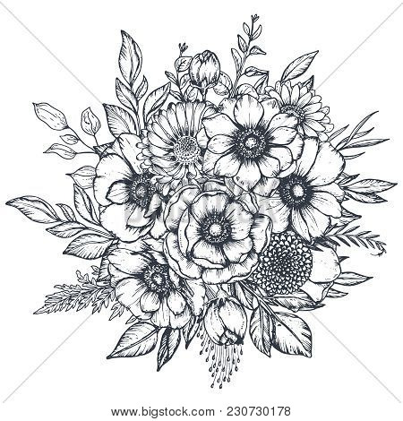 Vector Black And White Floral Composition, Bouquet Of Hand Drawn Anemone Flowers, Buds And Leaves In